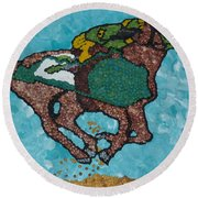 Down The Stretch Round Beach Towel
