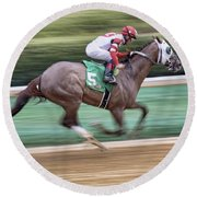 Down The Stretch - Horse Racing - Jockey Round Beach Towel