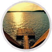 Down To The Fishing Dock - Lake Of The Ozarks Mo Round Beach Towel by Debbie Portwood