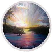 Down To The River Round Beach Towel