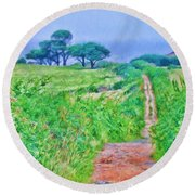 Down To The Sea Herm Island Round Beach Towel