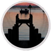Down To The Sunset Sea Round Beach Towel