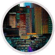 Round Beach Towel featuring the digital art Downtown Chaos by Stuart Turnbull