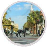 Downtown Charleston Stroll Round Beach Towel