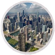 Downtown Chicago Aerial Round Beach Towel by Adam Romanowicz