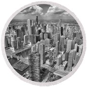 Downtown Chicago Aerial Black And White Round Beach Towel by Adam Romanowicz