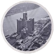 Downtown Detroit Round Beach Towel by Nicholas  Grunas