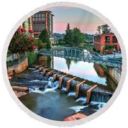 Downtown Greenville On The River Round Beach Towel