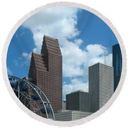 Downtown Houston With Ferris Wheel Round Beach Towel by Connie Fox