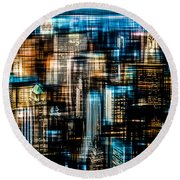 Downtown II - Dark Round Beach Towel