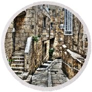 Round Beach Towel featuring the photograph Downtown In Jerusalems Old City by Doc Braham