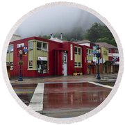Round Beach Towel featuring the photograph Downtown Juneau On A Rainy Day by Cathy Mahnke