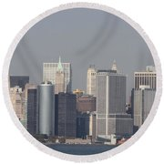 Downtown Manhattan Shot From The Staten Island Ferry Round Beach Towel
