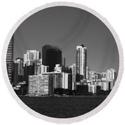Downtown Miami Panorama Monochrom  Round Beach Towel by Christiane Schulze Art And Photography