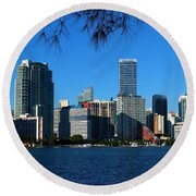 Downtown Miami Skyline Round Beach Towel by Christiane Schulze Art And Photography