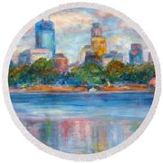 Downtown Minneapolis Skyline From Lake Calhoun II - Or Commission Your City Painting Round Beach Towel