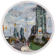 Downtown Mississauga On Round Beach Towel