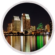 Round Beach Towel featuring the digital art Downtown San Diego by Gandz Photography