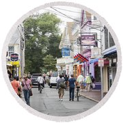 Downtown Scene In Provincetown On Cape Cod In Massachusetts Round Beach Towel