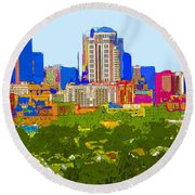 Downtown St. Louis From The Southwest Abstract Round Beach Towel