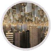 Round Beach Towel featuring the digital art Downtown/uptown by Matt Lindley