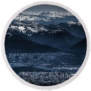 Downtown Vancouver And The Mountains Aerial View Low Key Round Beach Towel