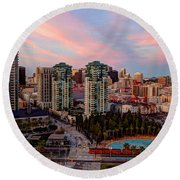 Round Beach Towel featuring the photograph Downtown View San Diego by Heidi Smith