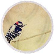 Downy Woodpecker Round Beach Towel