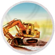 Round Beach Towel featuring the painting Dozer October by Kip DeVore