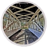 Round Beach Towel featuring the photograph Dr. Knisely Covered Bridge by Suzanne Stout