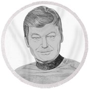 Round Beach Towel featuring the drawing Dr. Leonard Mccoy by Thomas J Herring