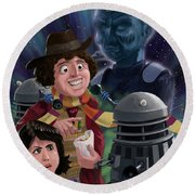 Dr Who 4th Doctor Jelly Baby Round Beach Towel