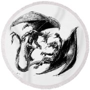Dragon Love Round Beach Towel