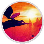 Round Beach Towel featuring the painting Awesome Dragon by David Mckinney