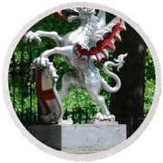Dragon With St George Shield Round Beach Towel
