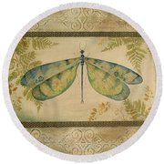 Dragonfly Among The Ferns-1 Round Beach Towel