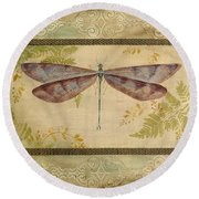 Dragonfly Among The Ferns-3 Round Beach Towel