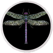 Dragonfly Bedazzled Round Beach Towel