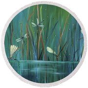 Dragonfly Diner Round Beach Towel by Carol Sweetwood
