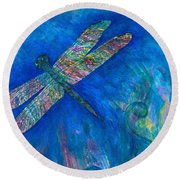 Dragonfly Flying High Round Beach Towel by Denise Hoag