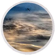 Dragonfly In The Sky Round Beach Towel