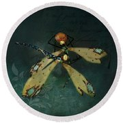 Dragonfly Romance Round Beach Towel