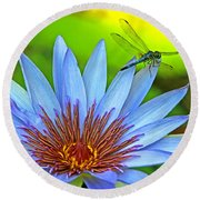 Dragonlily 2 Round Beach Towel by Larry Nieland