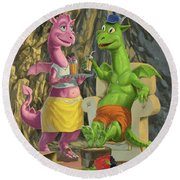 Dragons Relaxing At Home Round Beach Towel
