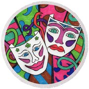 Drama Masks Round Beach Towel