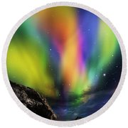 Dramatic Aurora Round Beach Towel