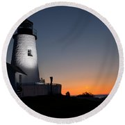 Dramatic Lighthouse Sunrise Round Beach Towel