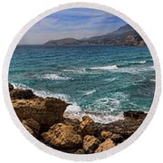 Dramatic Ocean Panorama On Milos Island Greece Round Beach Towel