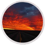 Round Beach Towel featuring the photograph Dramatic Sunrise by Lynn Hopwood