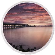 Drawbridge At Dusk Round Beach Towel by Fran Gallogly